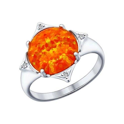 Кольцо из серебра с оранжевым опалом и фианитами