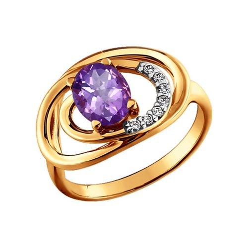 Золотое кольцо с фианитами и аметистом SOKOLOV золотое кольцо ювелирное изделие 01k663088