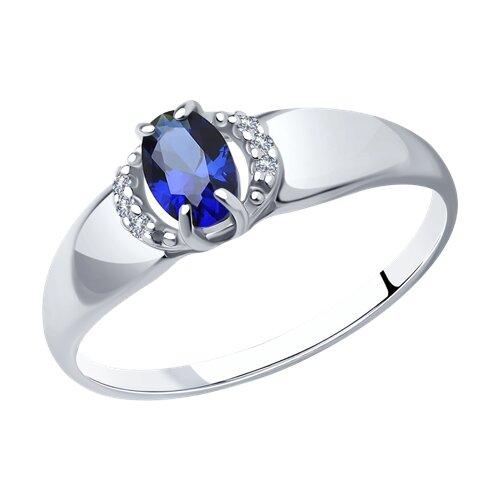 Кольцо из серебра с корундом сапфировым (синт.) и фианитами