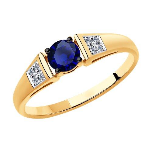 Кольцо из золота с бриллиантами и синими корундами (6012139) - фото