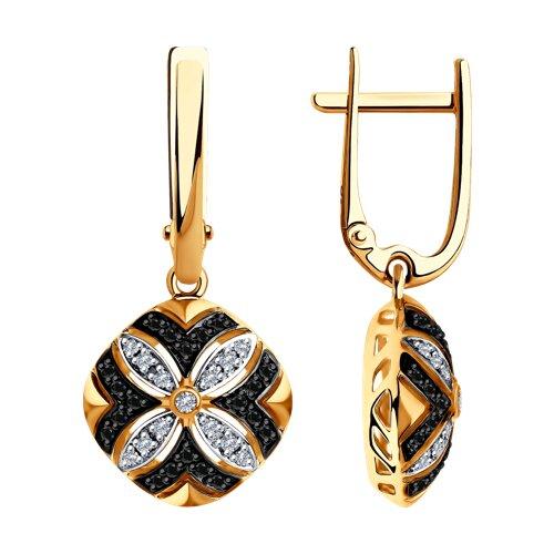 Серьги SOKOLOV из золота с бесцветными и чёрными бриллиантами sokolov серьги из золота с бесцветными и чёрными бриллиантами 7020047