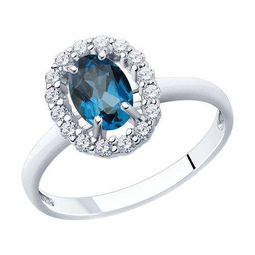 Кольцо из серебра с топазом и фианитами