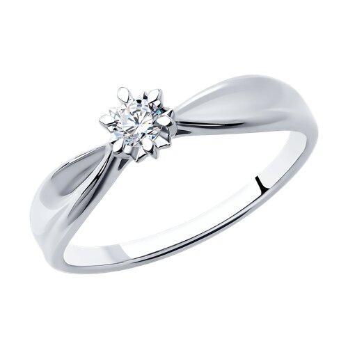 Кольцо из белого золота с бриллиантом (1011690) - фото