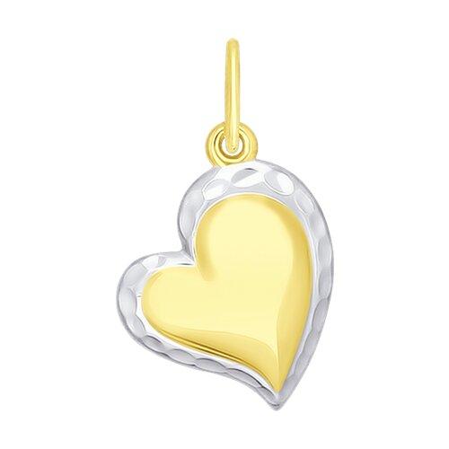 """Подвеска """"Сердечко"""" из желтого золота с алмазной гранью"""