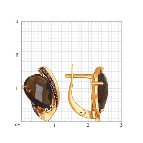 Серьги из золота с раухтопазами и фианитами (724322) - фото №2