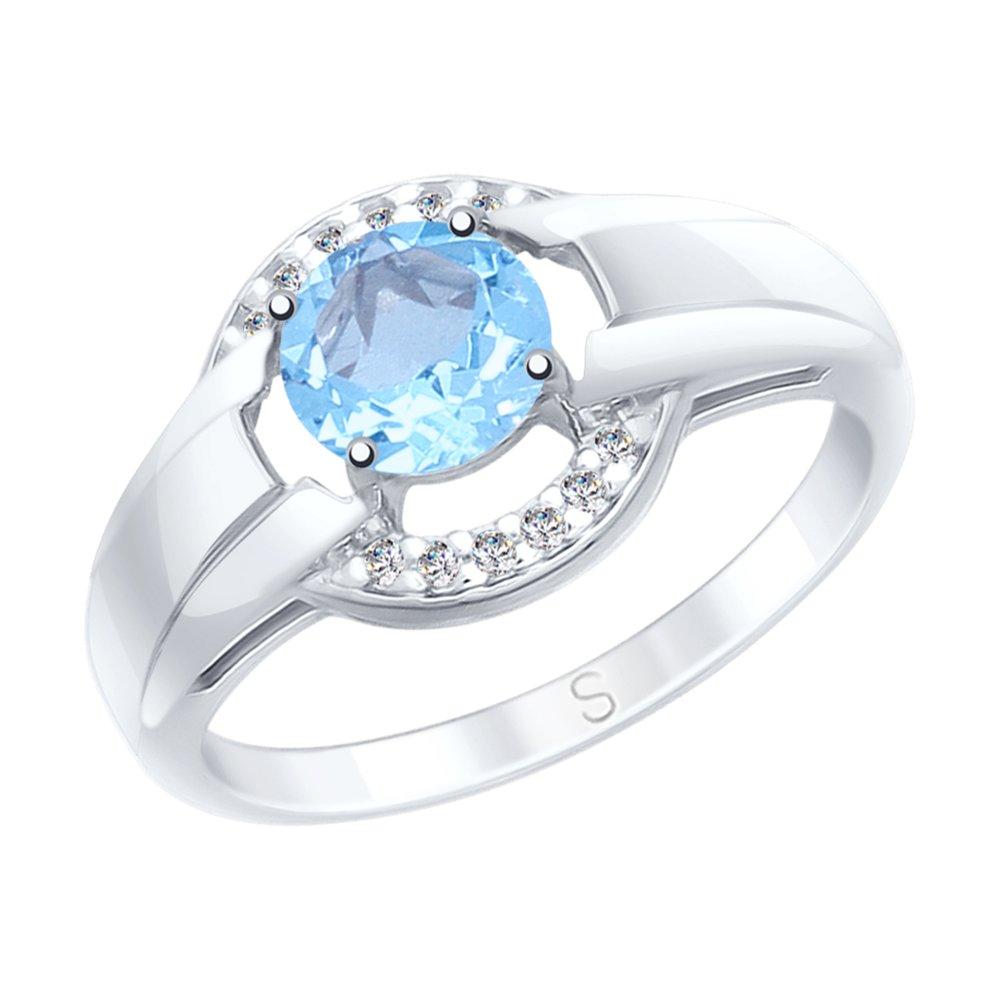 Кольцо SOKOLOV из серебра с топазом и фианитами кольцо sokolov из серебра с топазом и фианитами