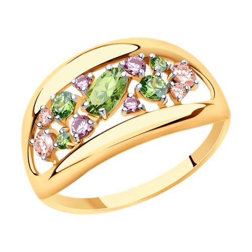 Кольцо из золота с фианитами Swarovski (81010469) - фото
