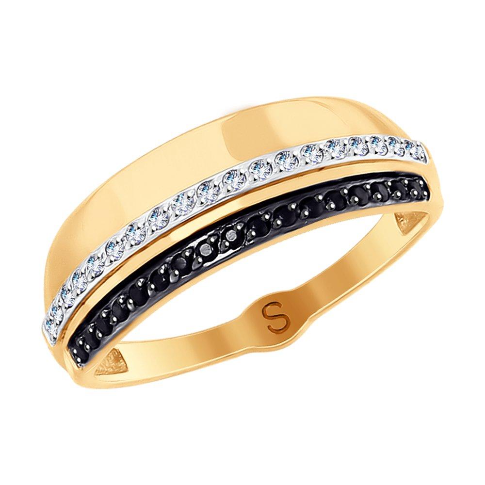 Кольцо SOKOLOV из золота с бесцветными и чёрными фианитами золотое кольцо с чёрными и бесцветными фианитами sokolov