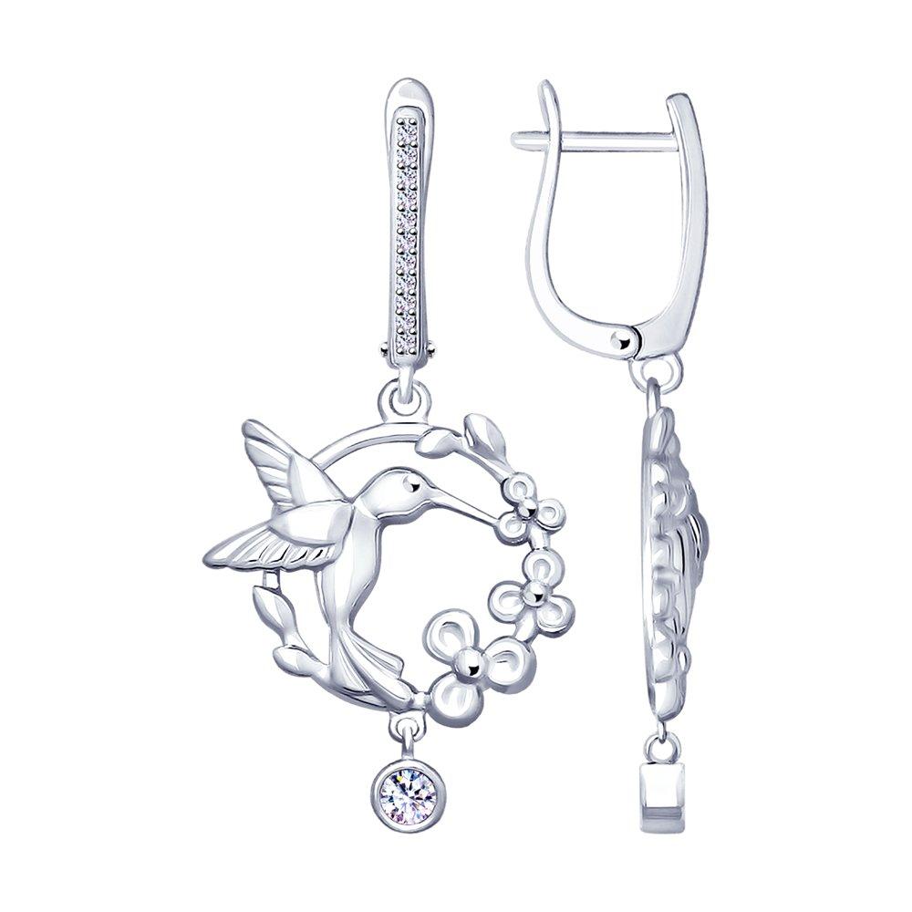 Серебряные серьги «Колибри» с фианитами SOKOLOV