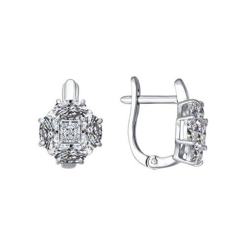 Серьги из серебра с фианитами 94021481