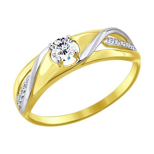 Кольцо из желтого золота с фианитами (017646-2) - фото
