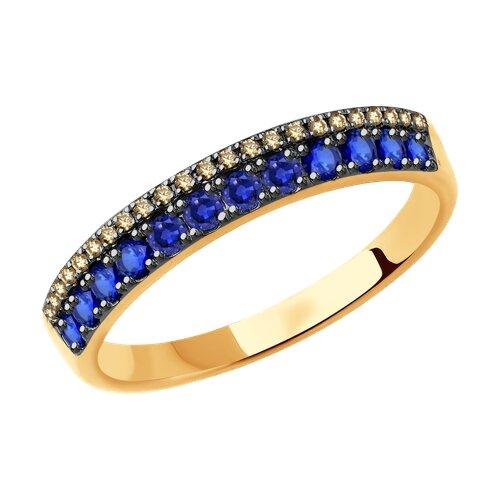 Золотое кольцо с бриллиантами и сапфирами (2011064) - фото