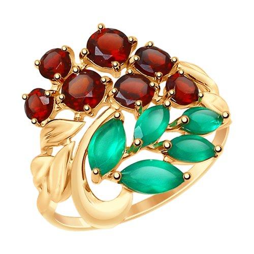 Кольцо из золота с полудрагоценными вставками (37714822) - фото