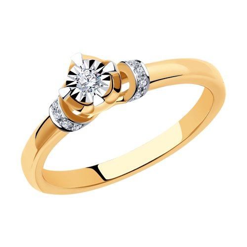 Помолвочное кольцо из золота с бриллиантами (1011074) - фото