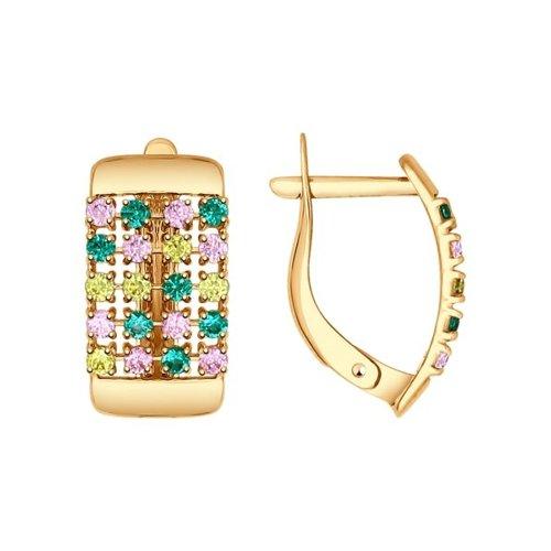 Серьги из золота с зелеными, розовыми и жёлтыми фианитами