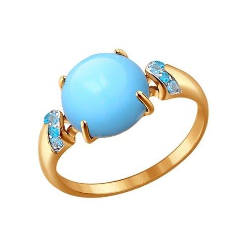 Кольцо SOKOLOV из золота с бирюзой и топазами золотое кольцо ювелирное изделие 01k625248