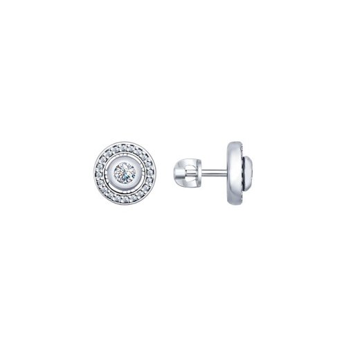 Серьги-пусеты из серебра с фианитами (94022237) - фото