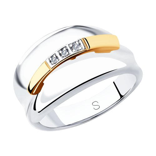 Кольцо из золота и серебра с бриллиантами