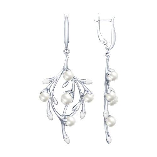 Серьги из серебра с эмалью и жемчугом (94022700) - фото