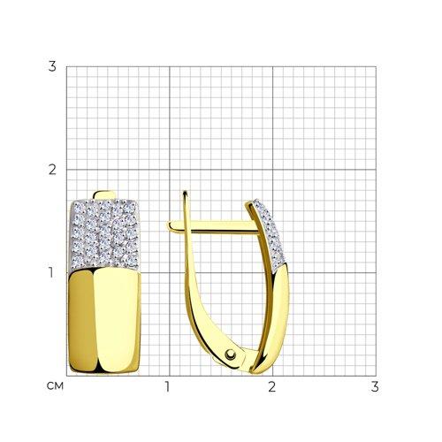 Серьги из желтого золота с фианитами 027694-2 SOKOLOV фото 2