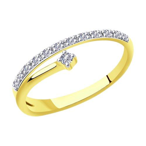 Кольцо из желтого золота с бриллиантами (1011893-2) - фото