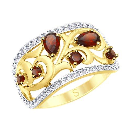 Кольцо из желтого золота с гранатами и фианитами (715085-2) - фото