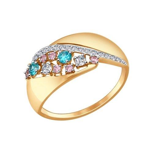 Кольцо из золота с зелёными, розовыми и бесцветными фианитами