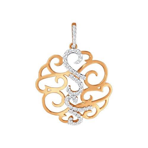 Фото - Круглая золотая подвеска с фианитами SOKOLOV jeweller karat подвеска золотая с фианитами подкова 1137438 1