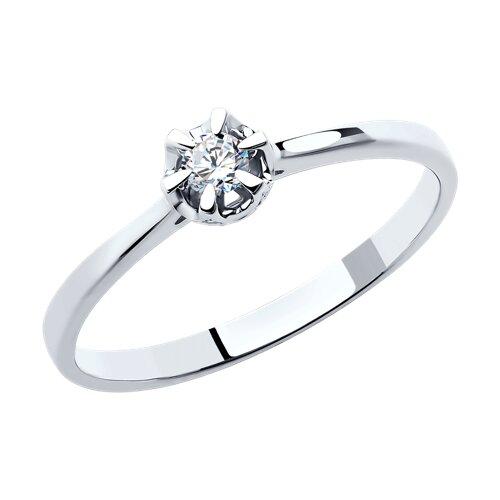Помолвочное кольцо из белого золота с бриллиантами (1011365) - фото