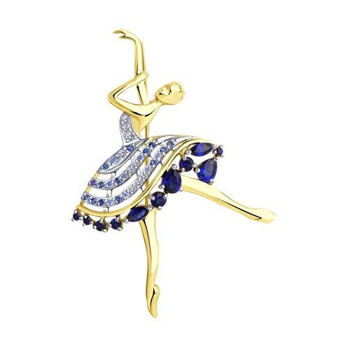 """Брошь """"Балерина"""" из желтого золота с корундами и фианитами 740341-2 sokolov фото"""