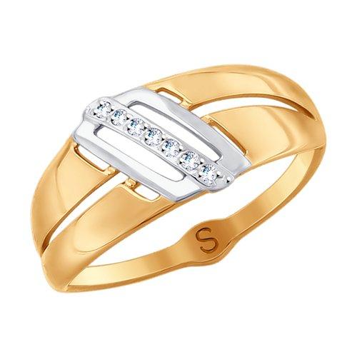 Кольцо из золота с фианитами (017901) - фото