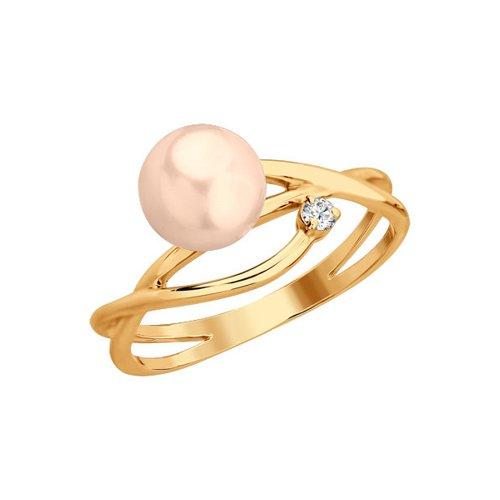 Золотое кольцо с бриллиантом и розовым жемчугом SOKOLOV