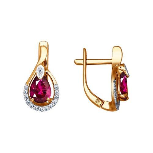 Серьги из золота с бриллиантами и рубинами (4020326) - фото