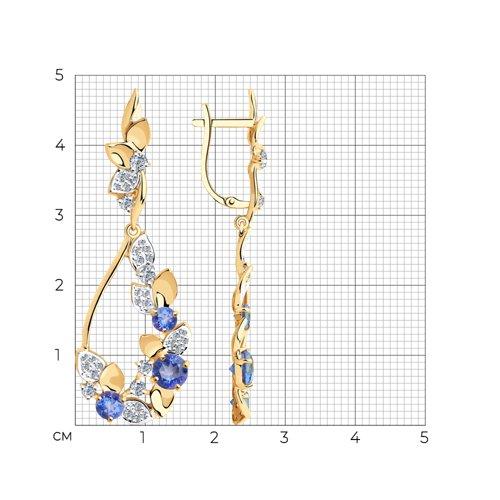 Серьги из золота с топазами Сваровски и фианитами Сваровски 727004 SOKOLOV фото 2