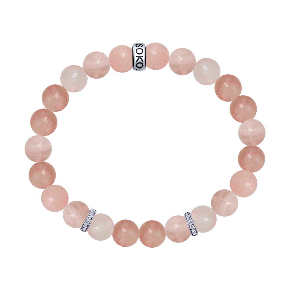 Браслет с розовым кварцем, серебром и фианитами SOKOLOV браслет с прессованным кораллом и серебром sokolov