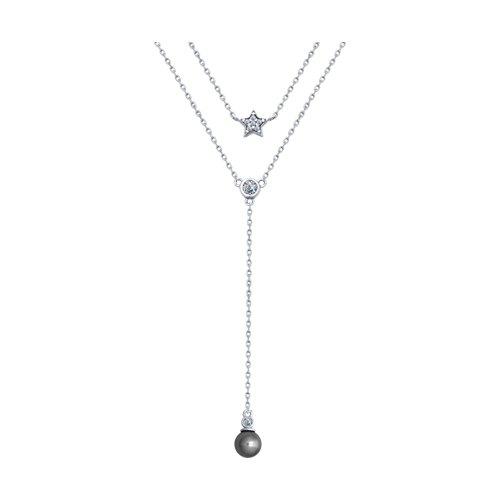 Колье из серебра с жемчугом Swarovski и фианитами (94070118) - фото