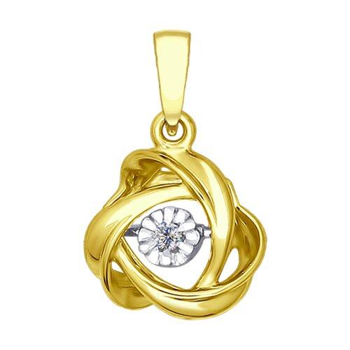 Подвеска из желтого золота с бриллиантом (1030556-2) - фото