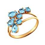 Кольцо из золота с россыпью голубых топазов