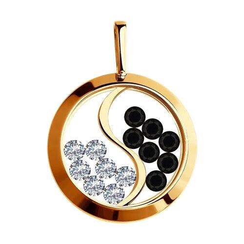Подвеска из золота с минеральным стеклом и фианитами (035684) - фото