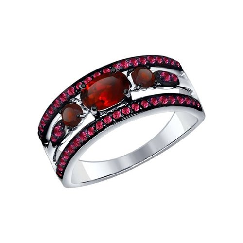 Кольцо из серебра с гранатами и красными фианитами