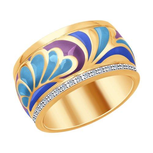 Кольцо из золота с эмалью и бриллиантами (1011717) - фото