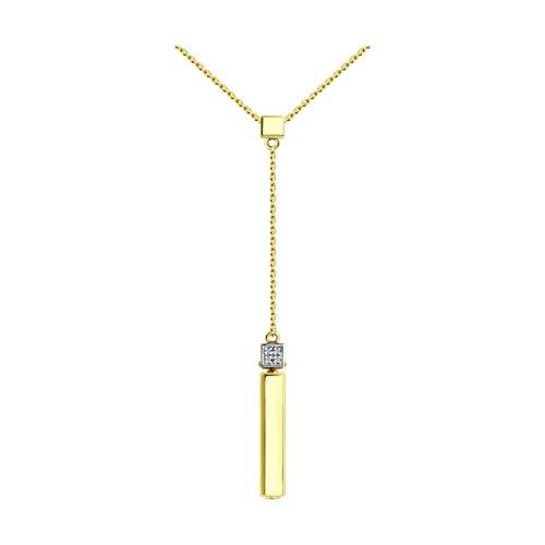 Колье из желтого золота с бриллиантами и керамической вставкой