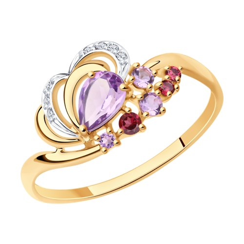 Кольцо из золота с миксом камней (715329) - фото