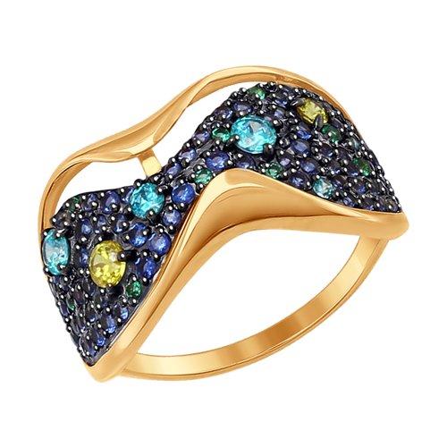 Кольцо из золота с жёлтыми, зелеными и синими фианитами (017430) - фото