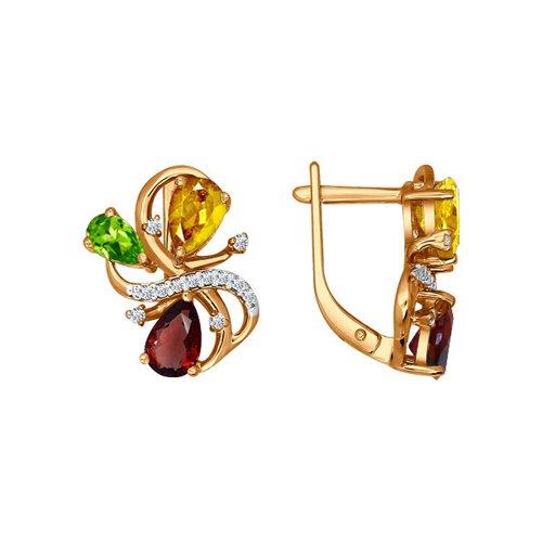 Серьги из золота с миксом камней