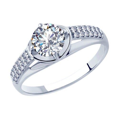 Кольцо из серебра с фианитами (94012877) - фото