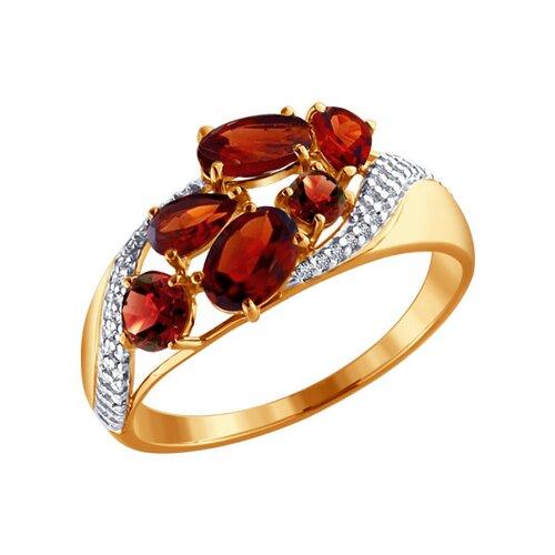 Кольцо из золота с гранатами и фианитами (713700) - фото