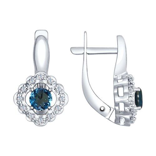 Серьги из серебра с синими топазами и фианитами (92021543) - фото