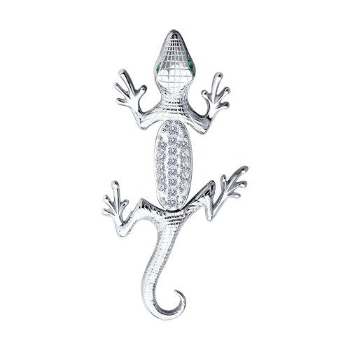цена Серебряная подвеска «Ящерица» с зелёными фианитами SOKOLOV онлайн в 2017 году