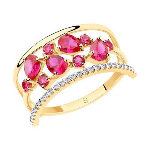 Кольцо из золота с красными корунд (синт.) и фианитами (715539) - фото